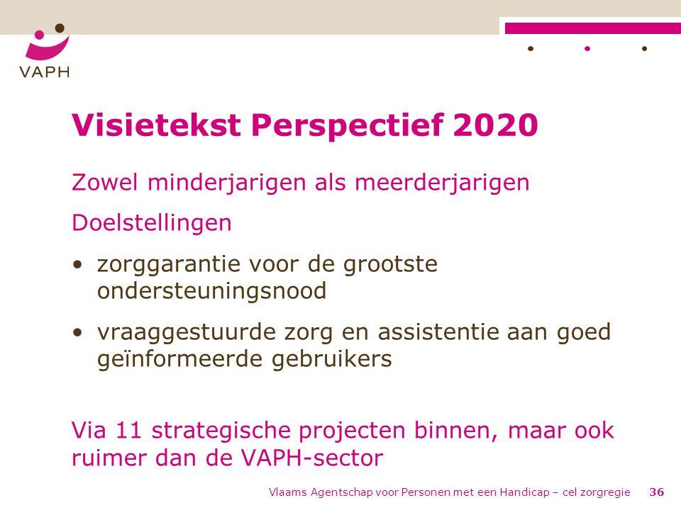 Vlaams Agentschap voor Personen met een Handicap – cel zorgregie36 Visietekst Perspectief 2020 Zowel minderjarigen als meerderjarigen Doelstellingen •