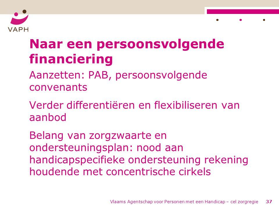 Vlaams Agentschap voor Personen met een Handicap – cel zorgregie37 Naar een persoonsvolgende financiering Aanzetten: PAB, persoonsvolgende convenants
