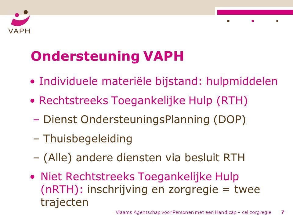Vlaams Agentschap voor Personen met een Handicap – cel zorgregie7 Ondersteuning VAPH • Individuele materiële bijstand: hulpmiddelen • Rechtstreeks Toe