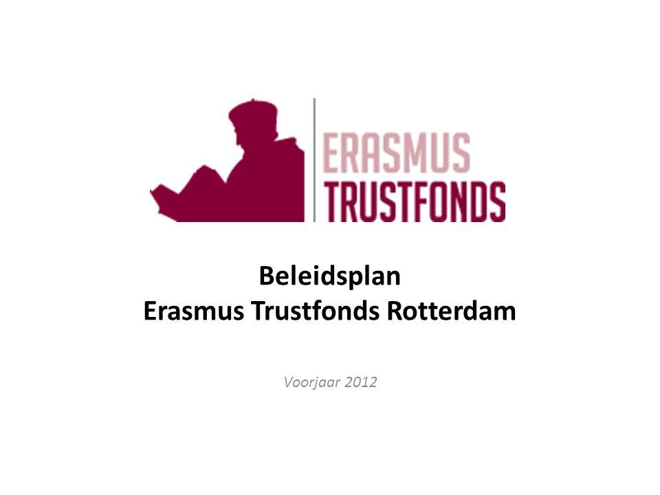Inhoudsopgave Beleidsplan Erasmus Trustfonds 2009-2012 1.Historie 2.Doelstelling 3.Positionering 4.Financiën 4.1 Vermogensbeleid 4.2 Inkomstenbeleid 4.3 Uitgavenbeleid 4.4 Subsidiebeleid 5.