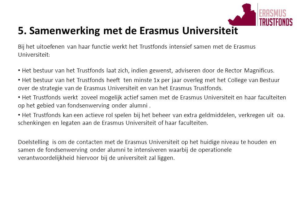 Bij het uitoefenen van haar functie werkt het Trustfonds intensief samen met de Erasmus Universiteit : • Het bestuur van het Trustfonds laat zich, ind
