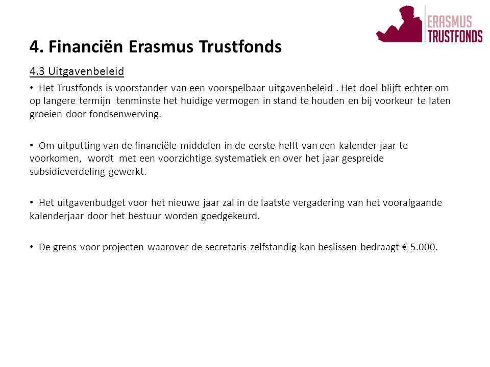 4.4 Subsidiebeleid • Voor subsidie van het Trustfonds komen die projecten in aanmerking die een doel hebben dat valt binnen de doelstelling van bevordering van groei en bloei van de Erasmus Universiteit.