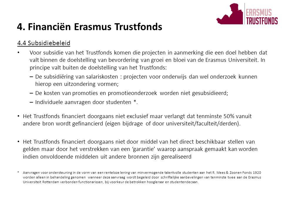 Bij het uitoefenen van haar functie werkt het Trustfonds intensief samen met de Erasmus Universiteit : • Het bestuur van het Trustfonds laat zich, indien gewenst, adviseren door de Rector Magnificus.