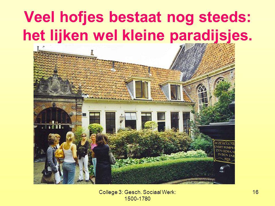 College 3: Gesch. Sociaal Werk: 1500-1780 16 Veel hofjes bestaat nog steeds: het lijken wel kleine paradijsjes.