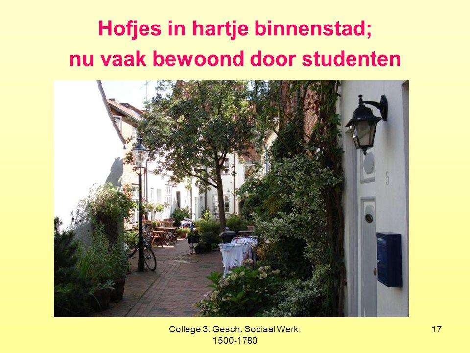 College 3: Gesch. Sociaal Werk: 1500-1780 17 Hofjes in hartje binnenstad; nu vaak bewoond door studenten