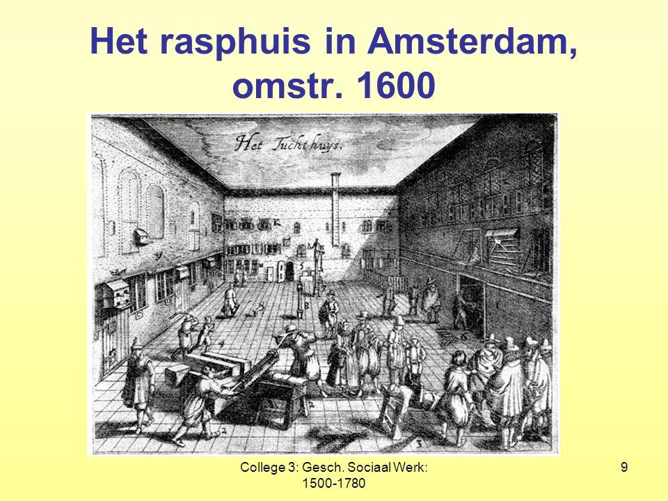 College 3: Gesch. Sociaal Werk: 1500-1780 9 Het rasphuis in Amsterdam, omstr. 1600