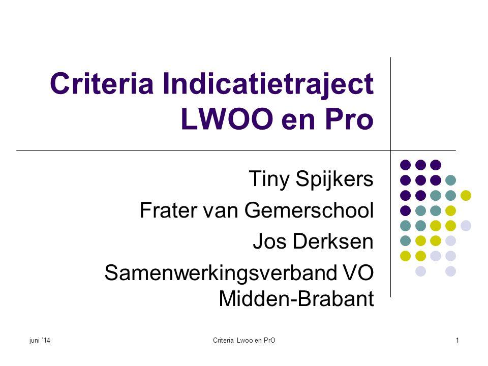 Criteria Indicatietraject LWOO en Pro Tiny Spijkers Frater van Gemerschool Jos Derksen Samenwerkingsverband VO Midden-Brabant juni '14Criteria Lwoo en