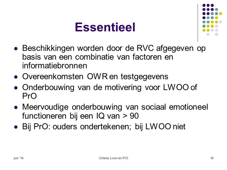 Essentieel  Beschikkingen worden door de RVC afgegeven op basis van een combinatie van factoren en informatiebronnen  Overeenkomsten OWR en testgege