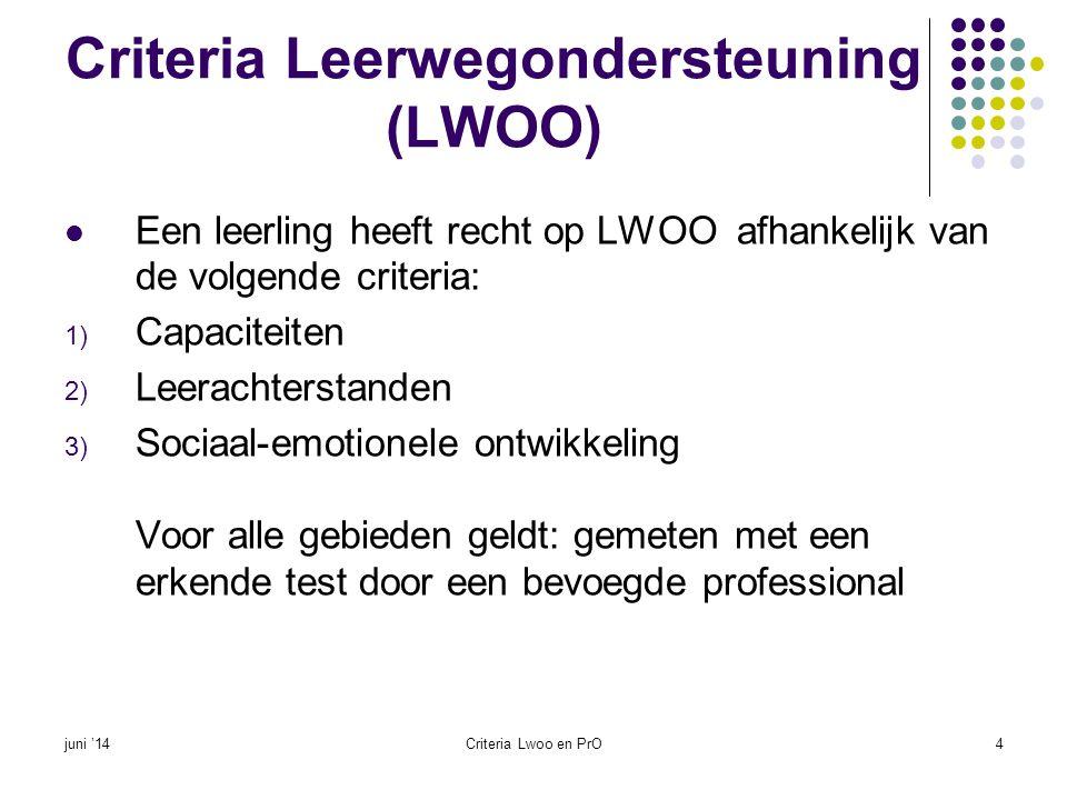 Criteria Leerwegondersteuning (LWOO)  Een leerling heeft recht op LWOO afhankelijk van de volgende criteria: 1) Capaciteiten 2) Leerachterstanden 3)