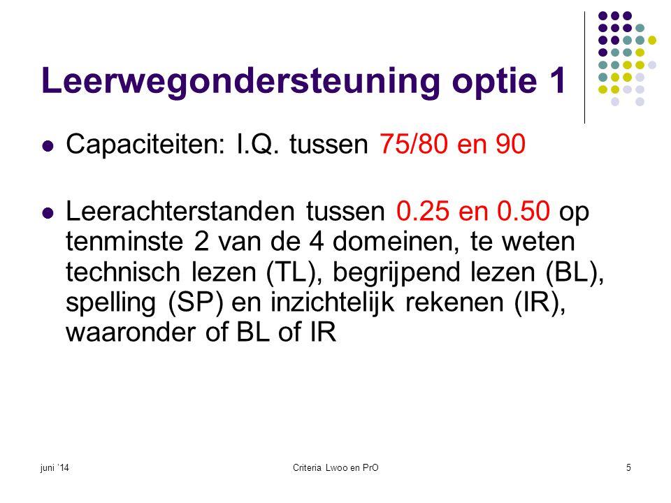 Leerwegondersteuning optie 2  Capaciteiten: I.Q.