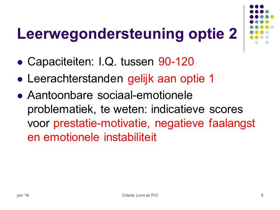 Leerwegondersteuning optie 2  Capaciteiten: I.Q. tussen 90-120  Leerachterstanden gelijk aan optie 1  Aantoonbare sociaal-emotionele problematiek,