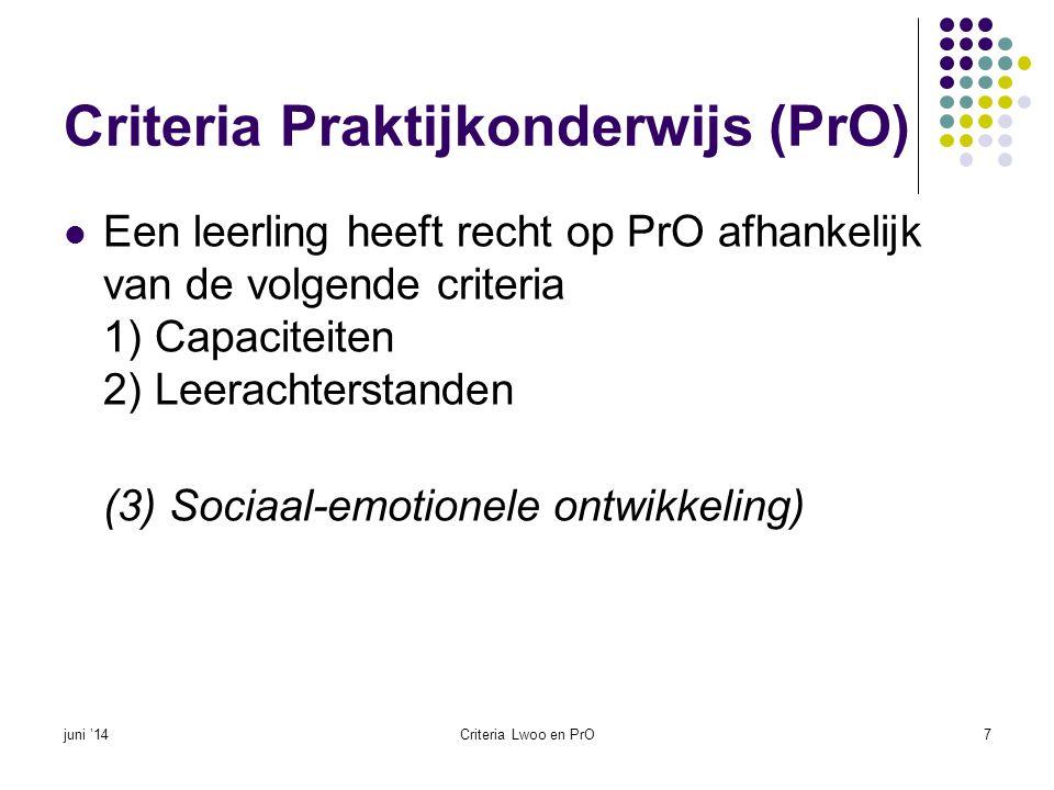 Criteria Praktijkonderwijs (PrO)  Een leerling heeft recht op PrO afhankelijk van de volgende criteria 1) Capaciteiten 2) Leerachterstanden (3) Socia
