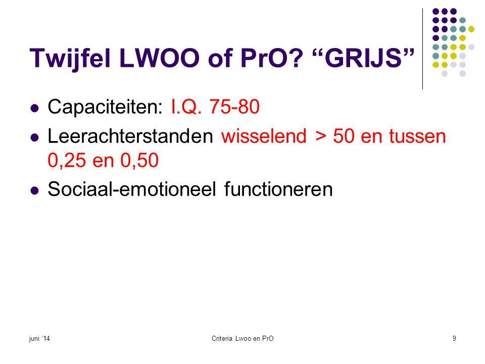 """Twijfel LWOO of PrO? """"GRIJS""""  Capaciteiten: I.Q. 75-80  Leerachterstanden wisselend > 50 en tussen 0,25 en 0,50  Sociaal-emotioneel functioneren ju"""