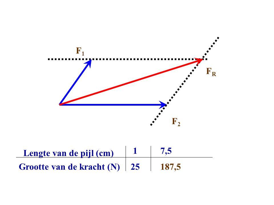 Lengte van de pijl (cm) Grootte van de kracht (N) 1 25 7,5 187,5 F2F2 F1F1 FRFR