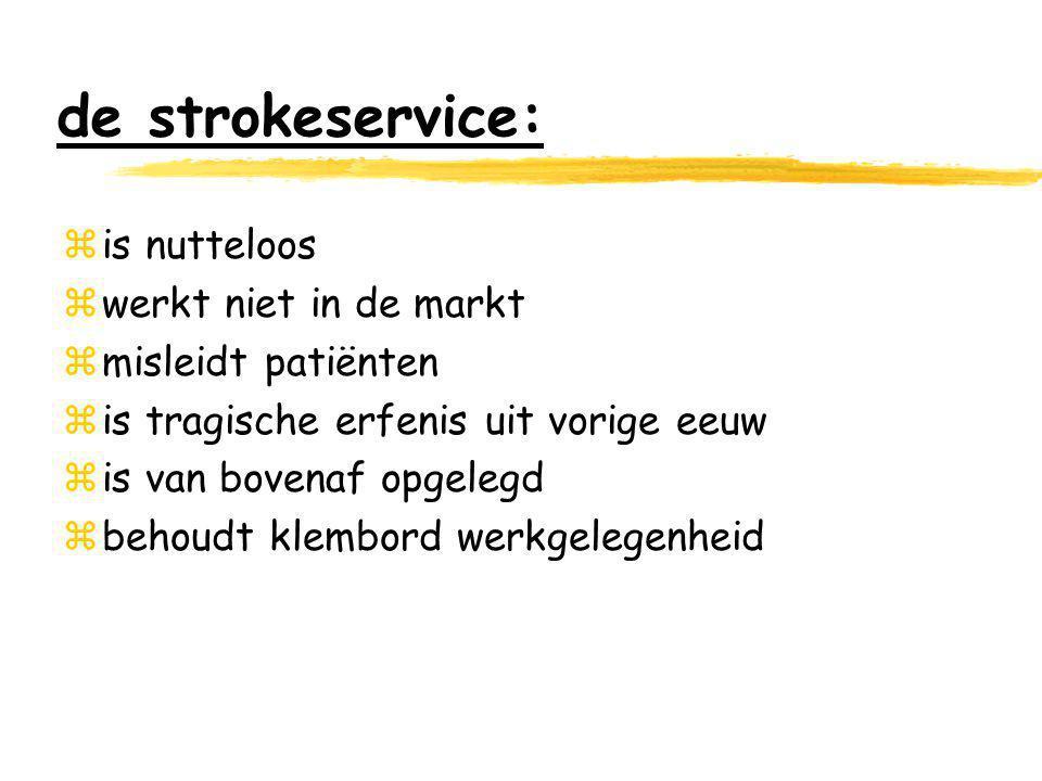 de strokeservice: zis nutteloos zwerkt niet in de markt zmisleidt patiënten zis tragische erfenis uit vorige eeuw zis van bovenaf opgelegd zbehoudt klembord werkgelegenheid