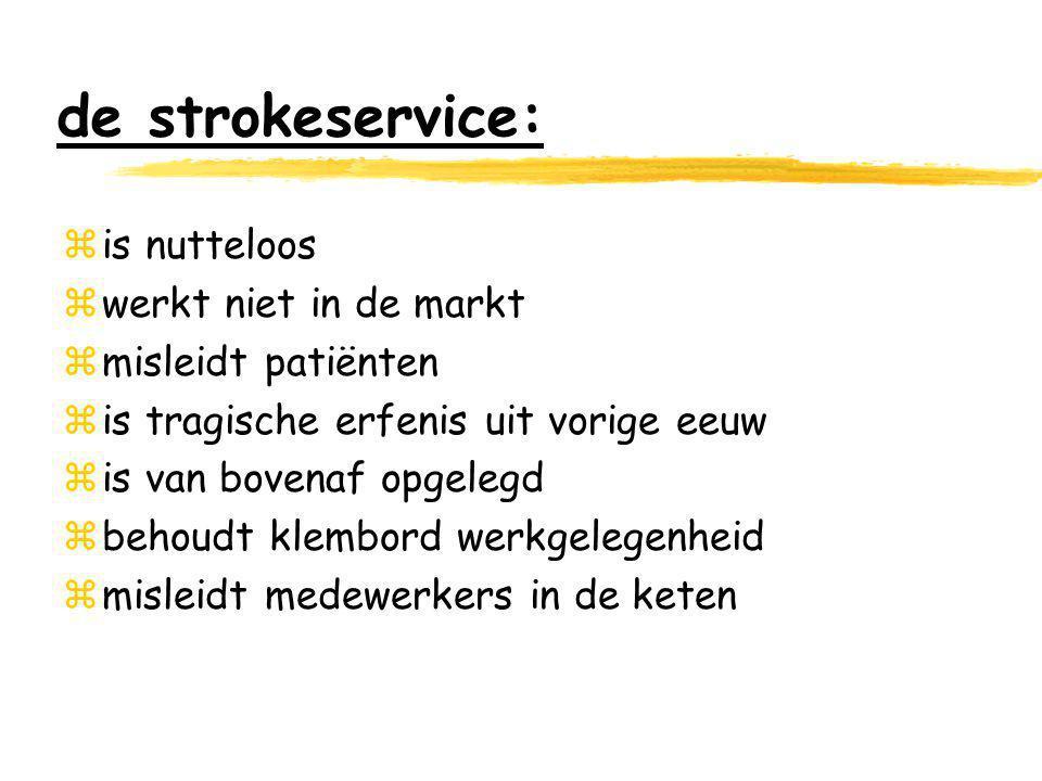 de strokeservice: zis nutteloos zwerkt niet in de markt zmisleidt patiënten zis tragische erfenis uit vorige eeuw zis van bovenaf opgelegd zbehoudt klembord werkgelegenheid zmisleidt medewerkers in de keten