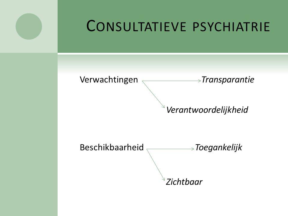 C ONSULTATIEVE PSYCHIATRIE Verwachtingen Transparantie Verantwoordelijkheid Beschikbaarheid Toegankelijk Zichtbaar
