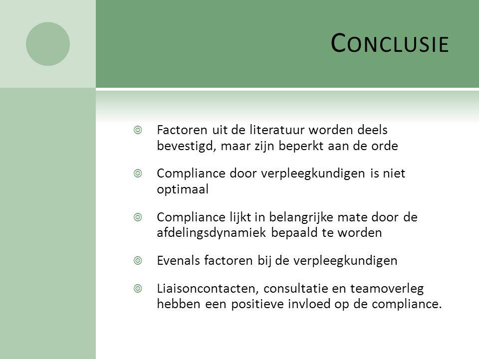 C ONCLUSIE  Factoren uit de literatuur worden deels bevestigd, maar zijn beperkt aan de orde  Compliance door verpleegkundigen is niet optimaal  Co