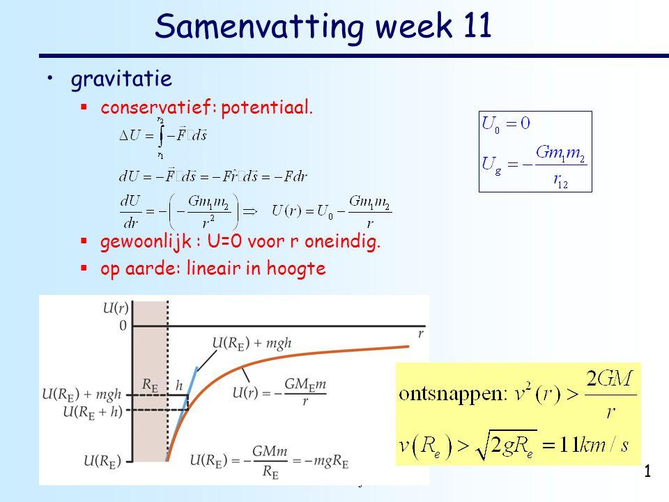 dr. H.J. Bulten Mechanica najaar 2007 1 Samenvatting week 11 •gravitatie  conservatief: potentiaal.  gewoonlijk : U=0 voor r oneindig.  op aarde: l