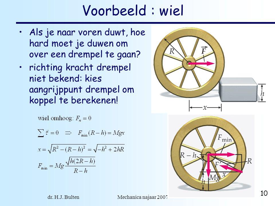 dr. H.J. Bulten Mechanica najaar 2007 10 Voorbeeld : wiel •Als je naar voren duwt, hoe hard moet je duwen om over een drempel te gaan? •richting krach