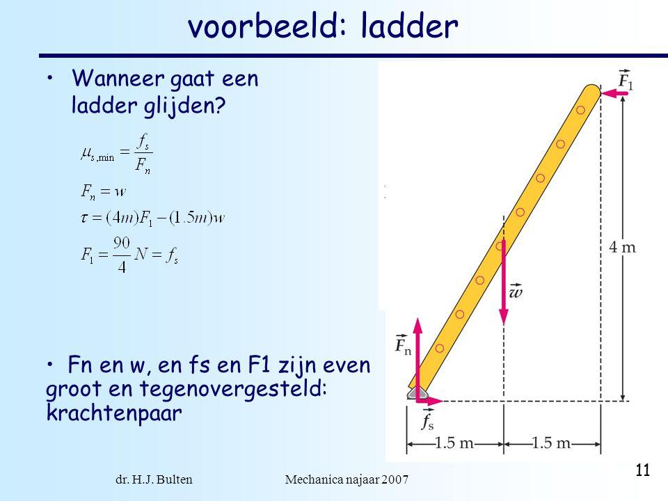 dr. H.J. Bulten Mechanica najaar 2007 11 voorbeeld: ladder •Wanneer gaat een ladder glijden? • Fn en w, en fs en F1 zijn even groot en tegenovergestel