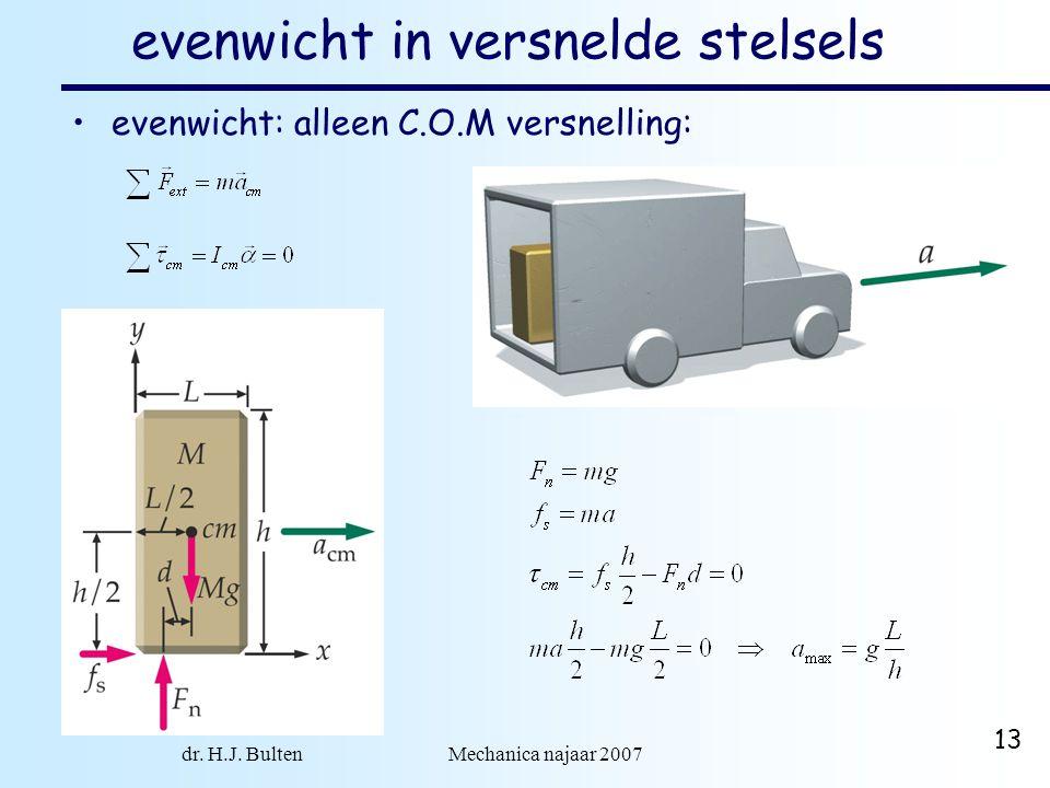 dr. H.J. Bulten Mechanica najaar 2007 13 evenwicht in versnelde stelsels •evenwicht: alleen C.O.M versnelling: