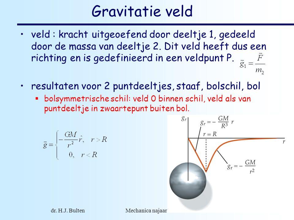 dr. H.J. Bulten Mechanica najaar 2007 2 Gravitatie veld •veld : kracht uitgeoefend door deeltje 1, gedeeld door de massa van deeltje 2. Dit veld heeft
