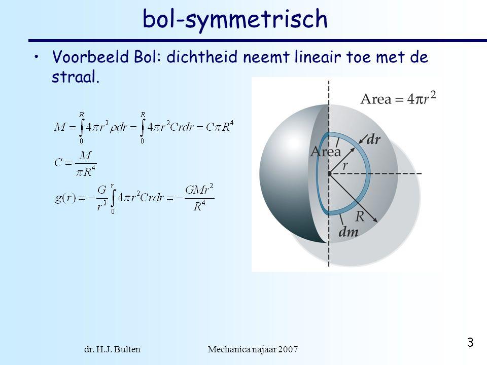 dr. H.J. Bulten Mechanica najaar 2007 3 bol-symmetrisch •Voorbeeld Bol: dichtheid neemt lineair toe met de straal.
