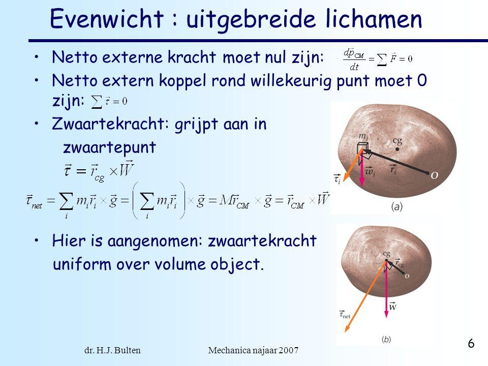 dr. H.J. Bulten Mechanica najaar 2007 6 Evenwicht : uitgebreide lichamen •Netto externe kracht moet nul zijn: •Netto extern koppel rond willekeurig pu