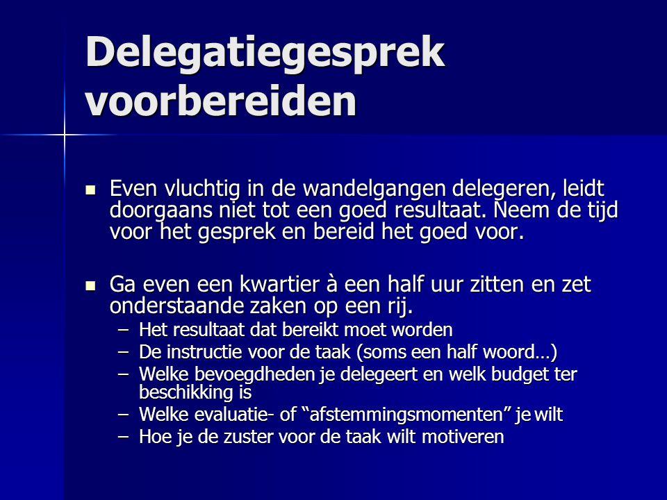 Delegatiegesprek voorbereiden  Even vluchtig in de wandelgangen delegeren, leidt doorgaans niet tot een goed resultaat. Neem de tijd voor het gesprek