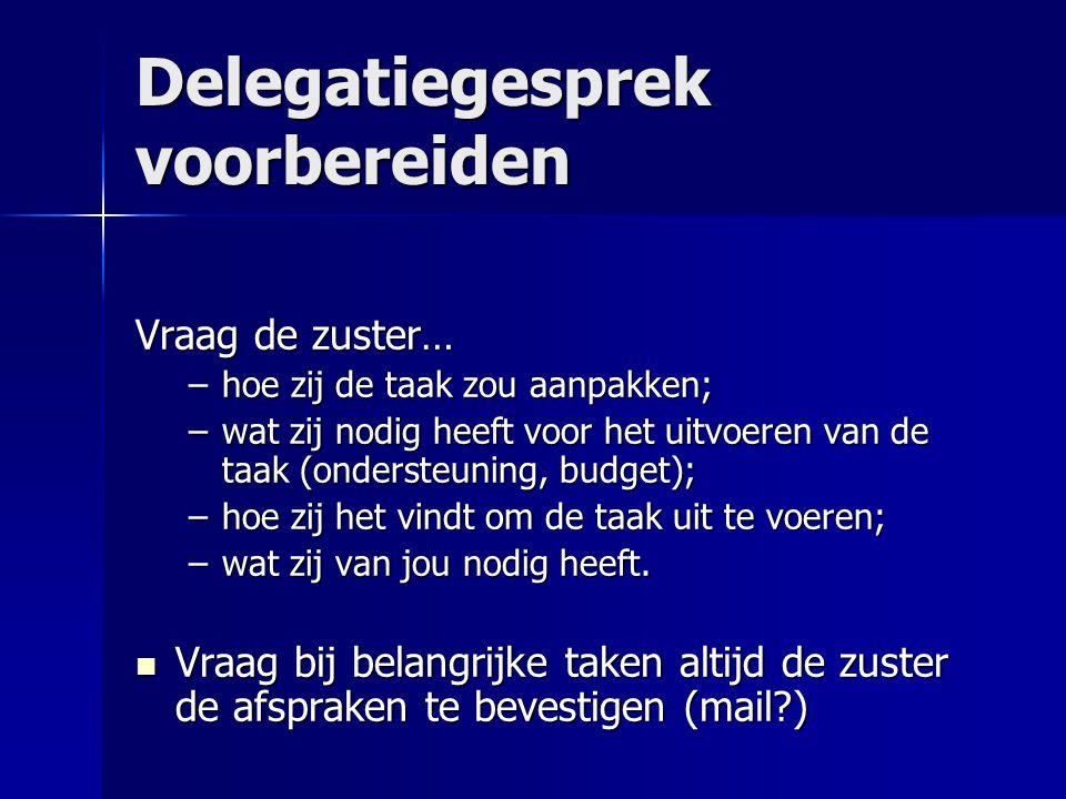 Delegatiegesprek voorbereiden Vraag de zuster… –hoe zij de taak zou aanpakken; –wat zij nodig heeft voor het uitvoeren van de taak (ondersteuning, bud