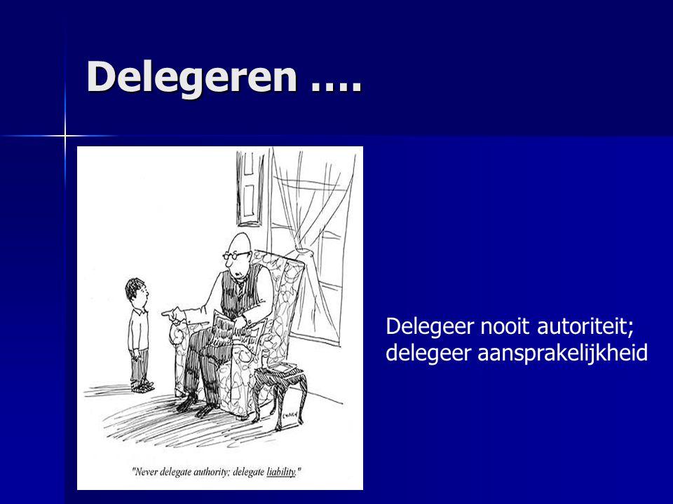 Delegeren …. Delegeer nooit autoriteit; delegeer aansprakelijkheid