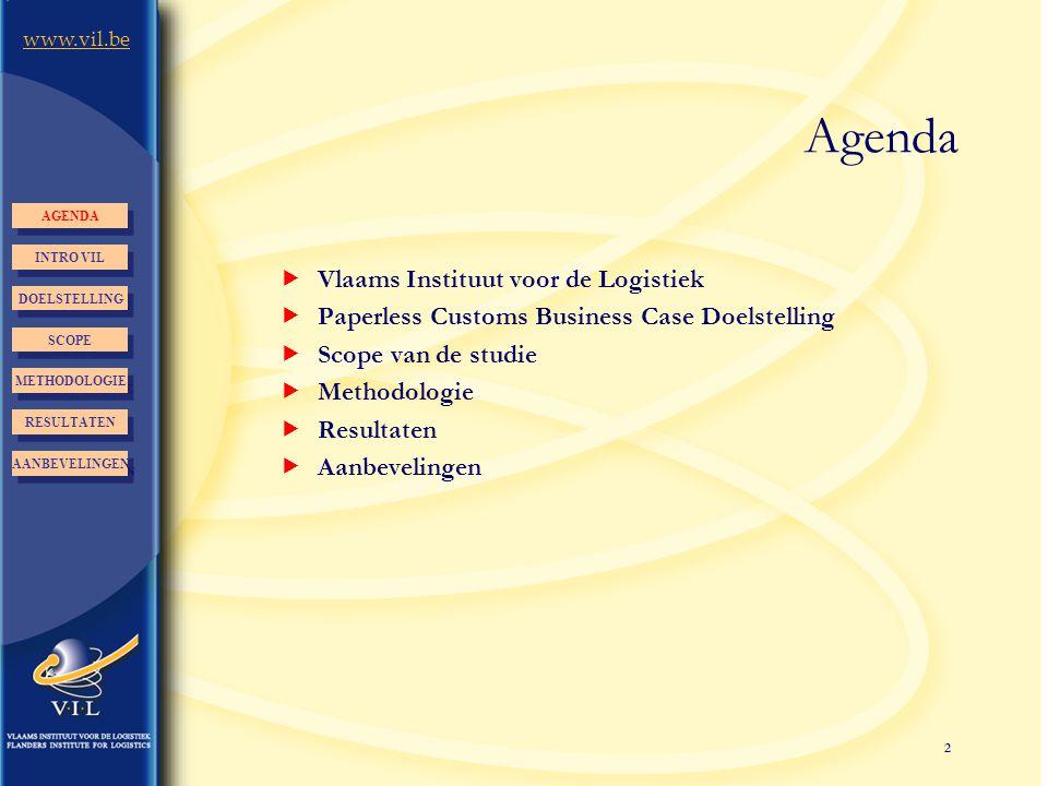 2 www.vil.be Agenda  Vlaams Instituut voor de Logistiek  Paperless Customs Business Case Doelstelling  Scope van de studie  Methodologie  Resulta