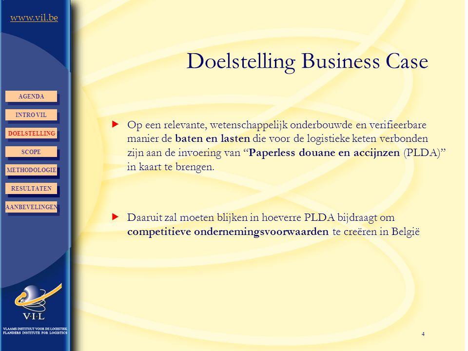 4 www.vil.be Doelstelling Business Case  Op een relevante, wetenschappelijk onderbouwde en verifieerbare manier de baten en lasten die voor de logist
