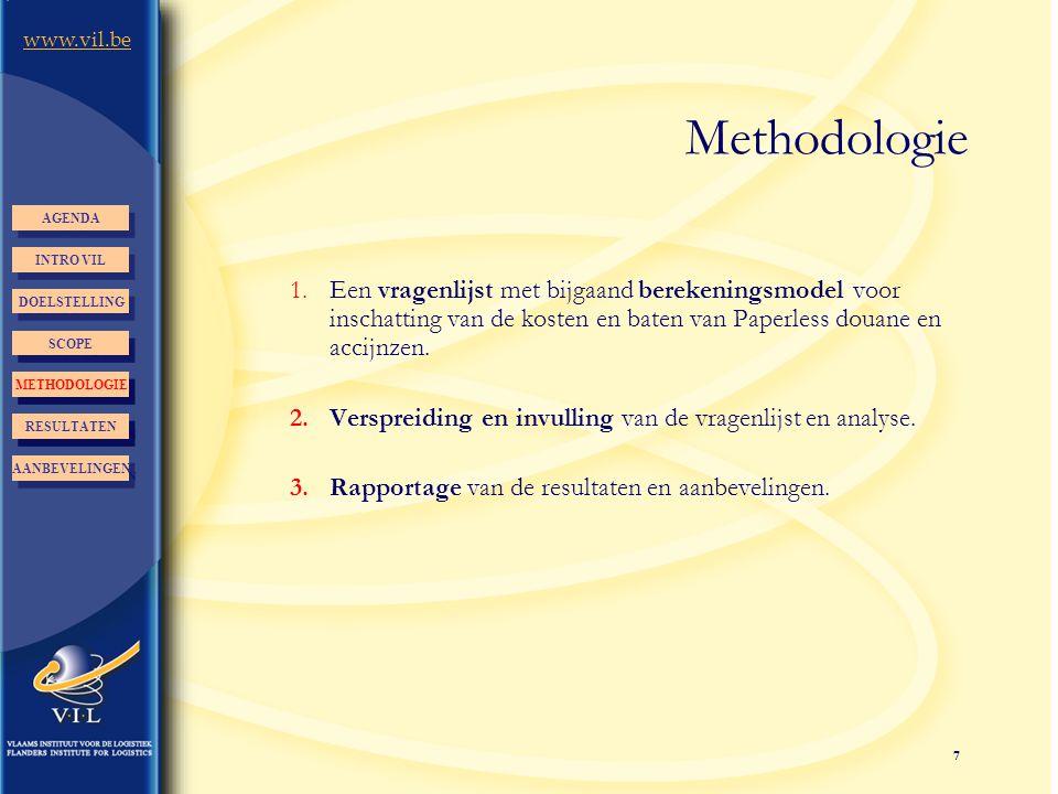 7 www.vil.be Methodologie 1.Een vragenlijst met bijgaand berekeningsmodel voor inschatting van de kosten en baten van Paperless douane en accijnzen. 2