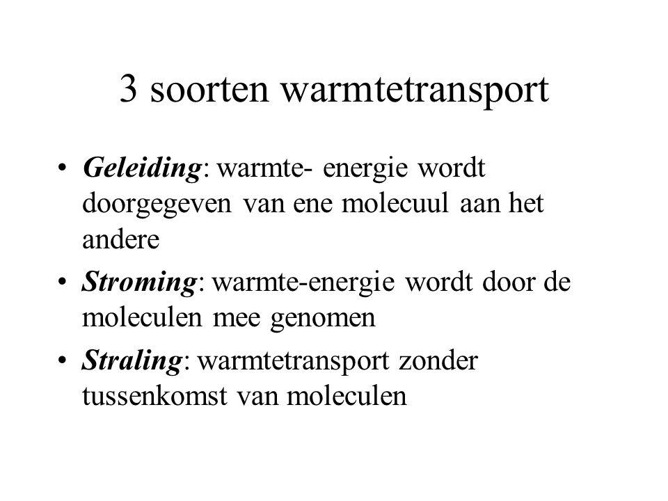3 soorten warmtetransport •Geleiding: warmte- energie wordt doorgegeven van ene molecuul aan het andere •Stroming: warmte-energie wordt door de molecu