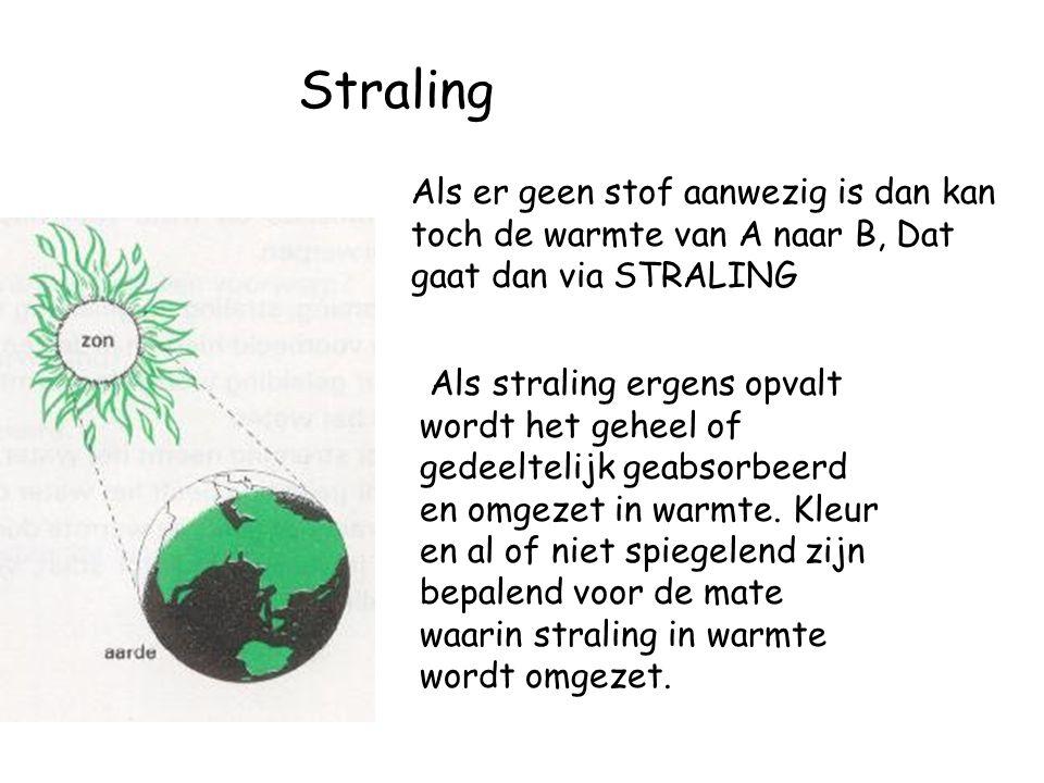 Straling Als er geen stof aanwezig is dan kan toch de warmte van A naar B, Dat gaat dan via STRALING Als straling ergens opvalt wordt het geheel of ge
