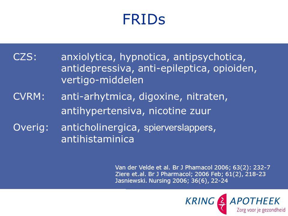 FRIDs CZS:anxiolytica, hypnotica, antipsychotica, antidepressiva, anti-epileptica, opioiden, vertigo-middelen CVRM:anti-arhytmica, digoxine, nitraten, antihypertensiva, nicotine zuur Overig: anticholinergica, spierverslappers, antihistaminica Van der Velde et al.