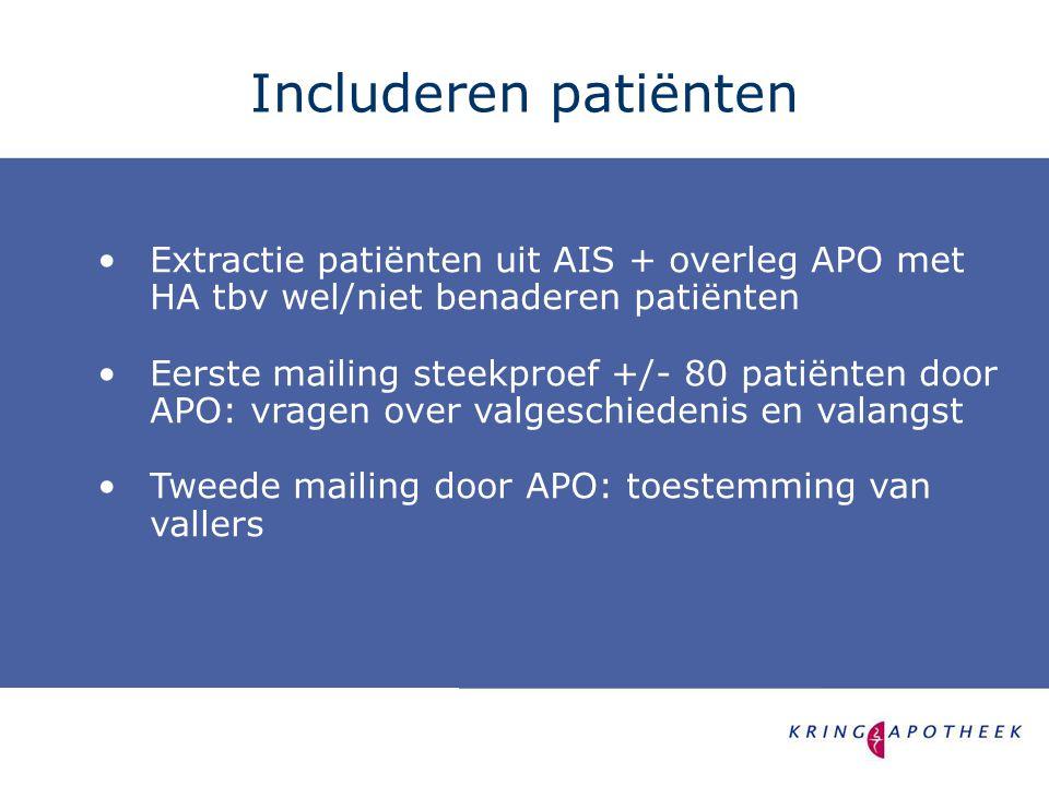 •Extractie patiënten uit AIS + overleg APO met HA tbv wel/niet benaderen patiënten •Eerste mailing steekproef +/- 80 patiënten door APO: vragen over valgeschiedenis en valangst •Tweede mailing door APO: toestemming van vallers Includeren patiënten