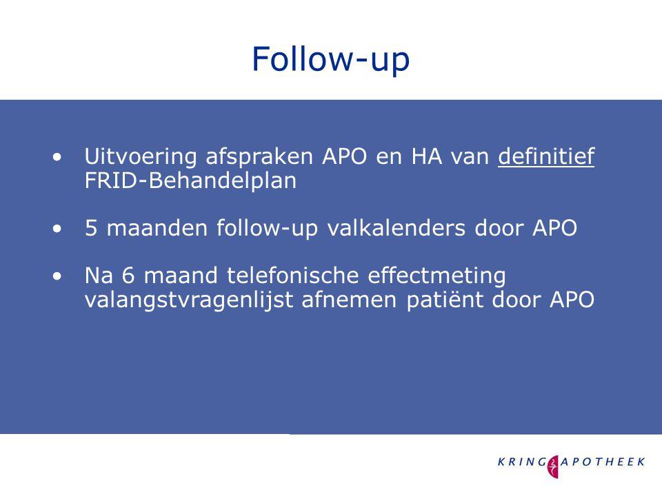 •Uitvoering afspraken APO en HA van definitief FRID-Behandelplan •5 maanden follow-up valkalenders door APO •Na 6 maand telefonische effectmeting valangstvragenlijst afnemen patiënt door APO Follow-up