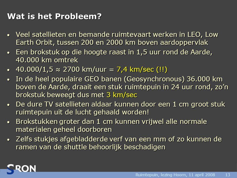 Ruimtepuin, lezing Hoorn, 11 april 200813 Wat is het Probleem? • Veel satellieten en bemande ruimtevaart werken in LEO, Low Earth Orbit, tussen 200 en