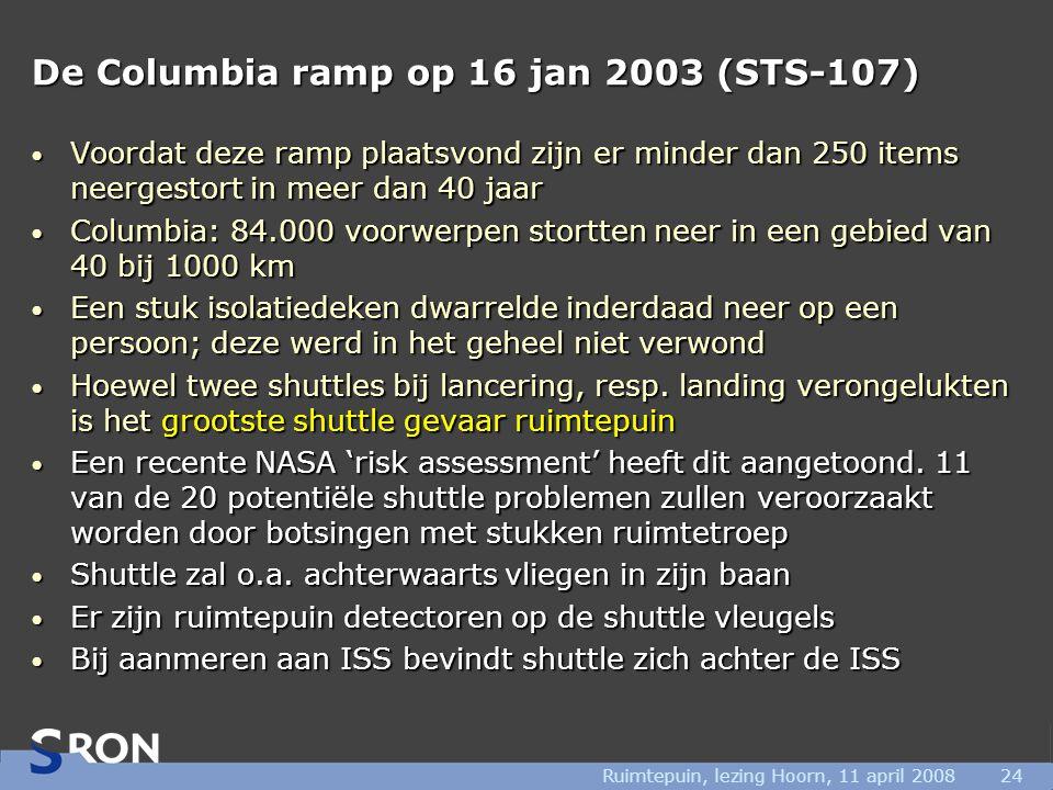 Ruimtepuin, lezing Hoorn, 11 april 200824 De Columbia ramp op 16 jan 2003 (STS-107) • Voordat deze ramp plaatsvond zijn er minder dan 250 items neergestort in meer dan 40 jaar • Columbia: 84.000 voorwerpen stortten neer in een gebied van 40 bij 1000 km • Een stuk isolatiedeken dwarrelde inderdaad neer op een persoon; deze werd in het geheel niet verwond • Hoewel twee shuttles bij lancering, resp.