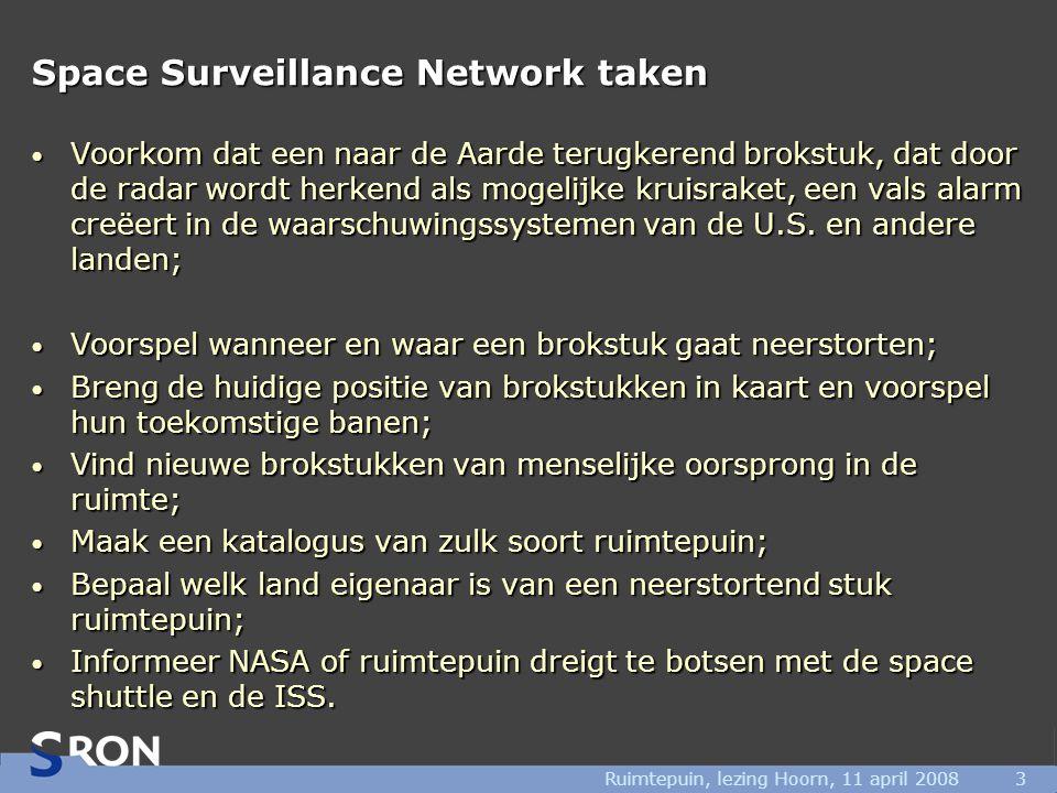Ruimtepuin, lezing Hoorn, 11 april 20083 Space Surveillance Network taken • Voorkom dat een naar de Aarde terugkerend brokstuk, dat door de radar wordt herkend als mogelijke kruisraket, een vals alarm creëert in de waarschuwingssystemen van de U.S.