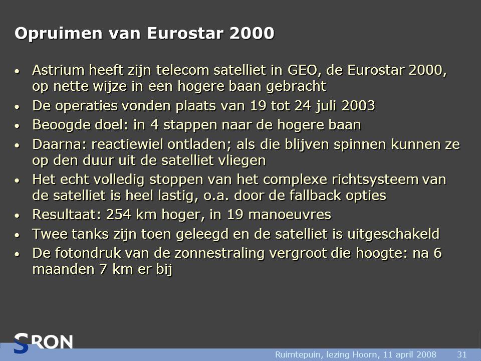 Ruimtepuin, lezing Hoorn, 11 april 200831 Opruimen van Eurostar 2000 • Astrium heeft zijn telecom satelliet in GEO, de Eurostar 2000, op nette wijze i