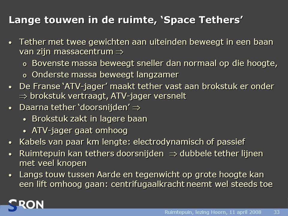 Ruimtepuin, lezing Hoorn, 11 april 200833 Lange touwen in de ruimte, 'Space Tethers' • Tether met twee gewichten aan uiteinden beweegt in een baan van