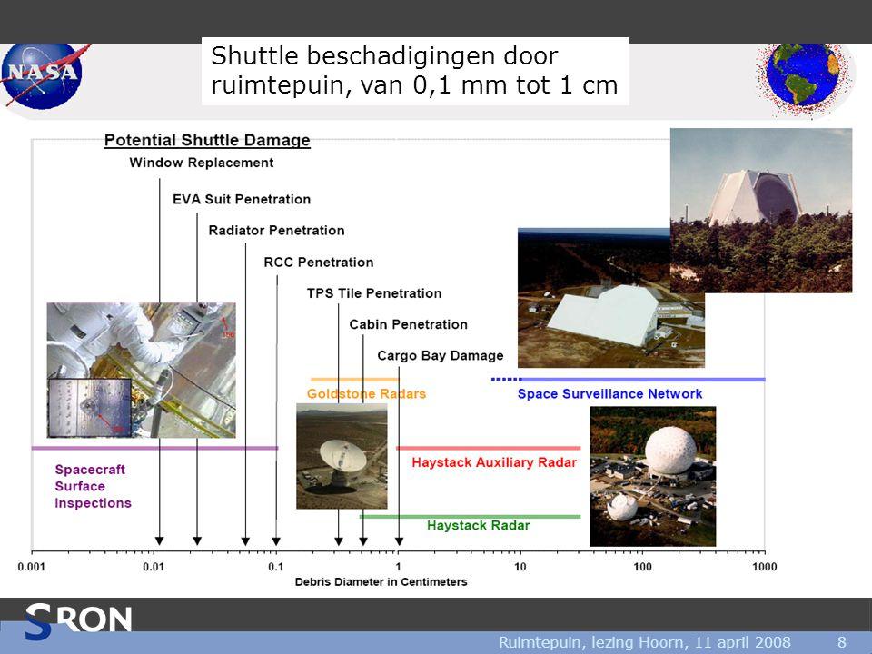 Ruimtepuin, lezing Hoorn, 11 april 20088 Shuttle beschadigingen door ruimtepuin, van 0,1 mm tot 1 cm