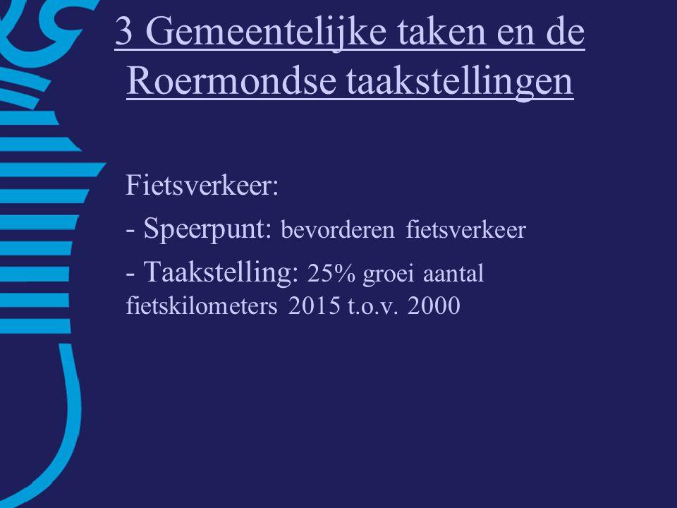 3 Gemeentelijke taken en de Roermondse taakstellingen Fietsverkeer: - Speerpunt: bevorderen fietsverkeer - Taakstelling: 25% groei aantal fietskilometers 2015 t.o.v.