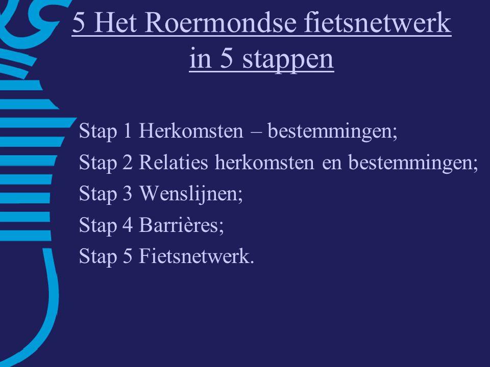 5 Het Roermondse fietsnetwerk in 5 stappen Stap 1 Herkomsten – bestemmingen; Stap 2 Relaties herkomsten en bestemmingen; Stap 3 Wenslijnen; Stap 4 Barrières; Stap 5 Fietsnetwerk.