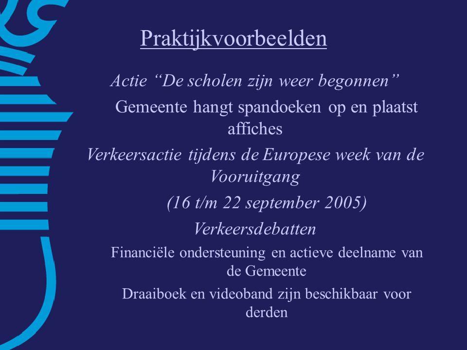 Fietsbalans Roermond Sterke punten: – goede concurrentiepositie – verkeersveiligheid –stedelijke dichtheid Zwakke punten: –directheid (omrijden+oponthoud VRI's) –geluidhinder –laag fietsgebruik: aandeel <7,5 km = 30% –relatief veel fietsdiefstallen Praktijkvoorbeelden Actie De scholen zijn weer begonnen Gemeente hangt spandoeken op en plaatst affiches Verkeersactie tijdens de Europese week van de Vooruitgang (16 t/m 22 september 2005) Verkeersdebatten Financiële ondersteuning en actieve deelname van de Gemeente Draaiboek en videoband zijn beschikbaar voor derden