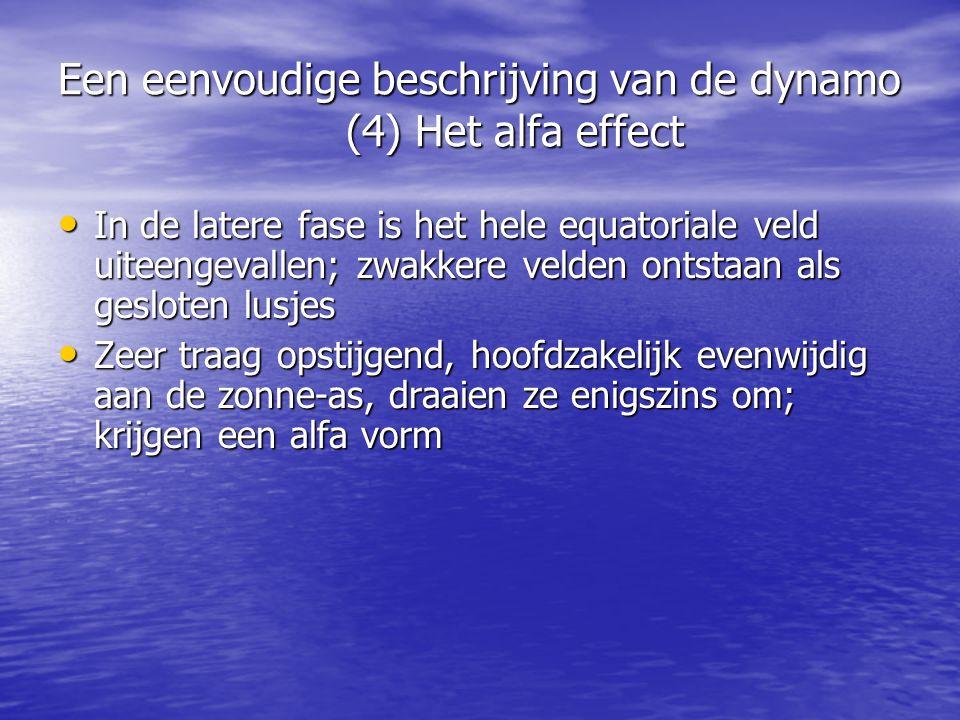 Een eenvoudige beschrijving van de dynamo (4) Het alfa effect • In de latere fase is het hele equatoriale veld uiteengevallen; zwakkere velden ontstaan als gesloten lusjes • Zeer traag opstijgend, hoofdzakelijk evenwijdig aan de zonne-as, draaien ze enigszins om; krijgen een alfa vorm